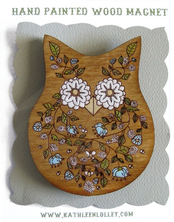 Hand Painted Owl Magnet