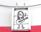 Guitarist girl- Slider pendant-sterling silver