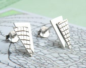Textured Triangle Earrings-sterling silver