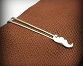 Mustache Tie bar- sterling silver