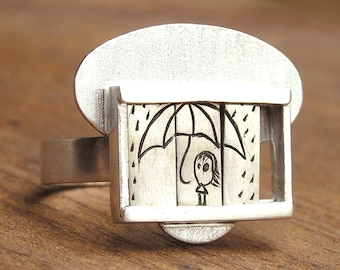 It is raining- Slider Ring-sterling silver