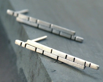 Brick Earrings-sterling silver