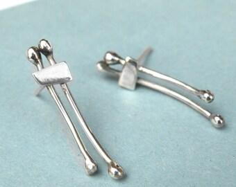 Double Line Earrings-sterling silver