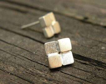 Block Earrings-sterling silver