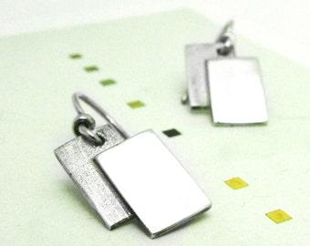 Double rectangle Earrings-sterling silver