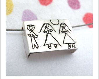 Your Child's Drawing on a Pendant- Personalized-  Made to order