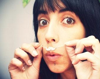 Mustache Pendant-sterling silver