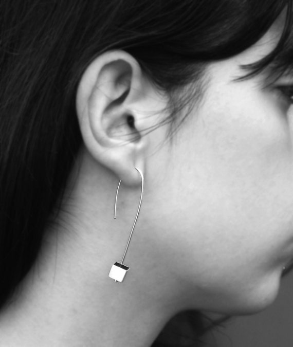 Cube Earrings- sterling silver