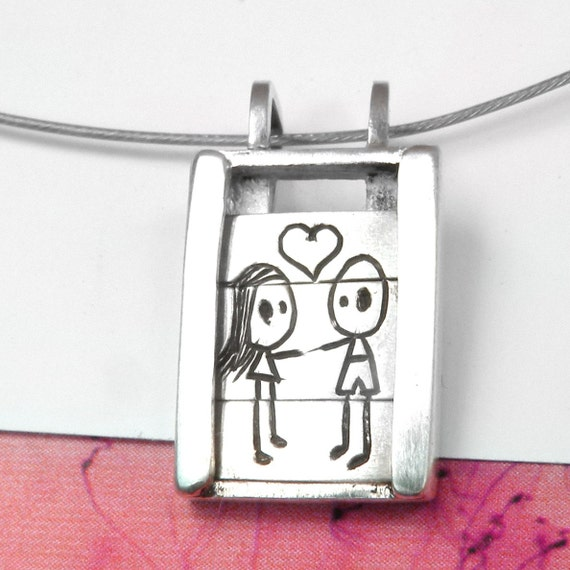 Boy and Girl in Love - Slider Pendant- sterling silver