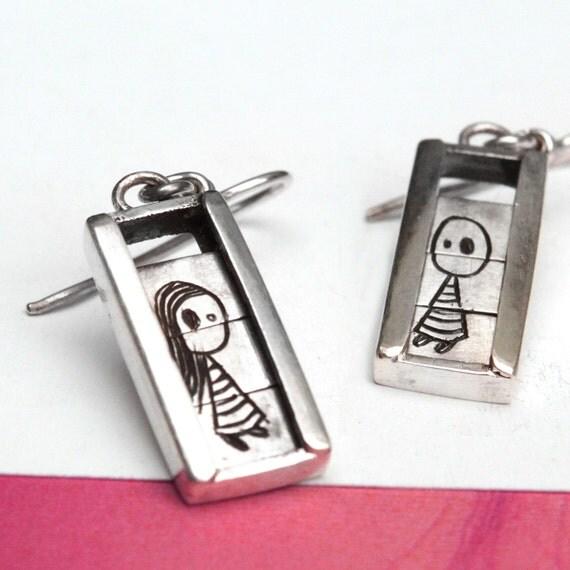 Boy and Girl Slider Earrings-sterling silver