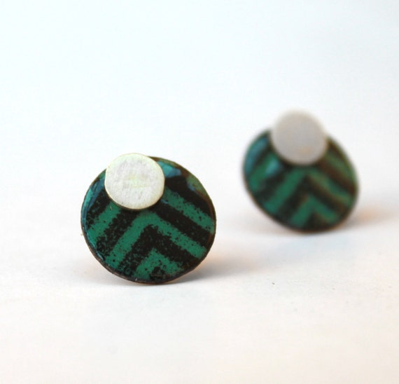 2 in 1-Rombus Stripes- Turquoise and Black Earrings - sterling silver and copper