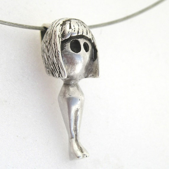 SALE-Tridimensional girl- sterling silver