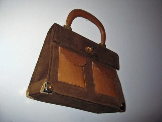vintage 1960s handbag // kelly bag caramel SUEDE purse