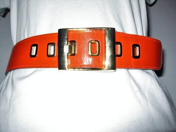 vintage 1960s belt MOD orange belt  Calderon 26 28 30