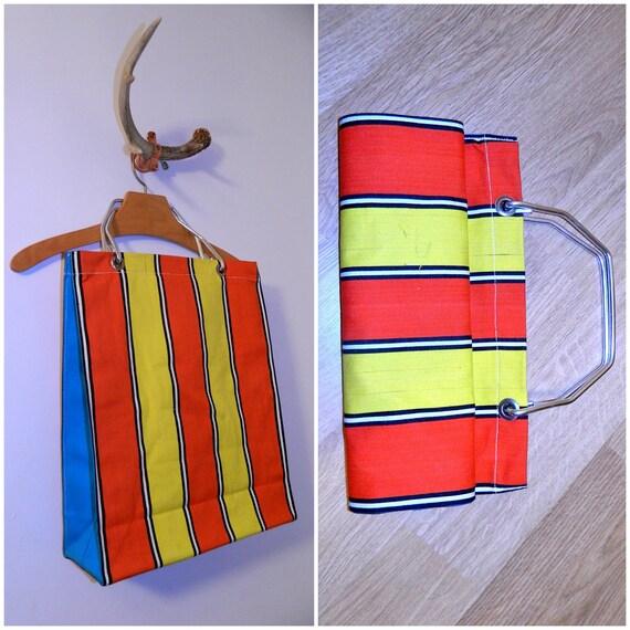 vintage 1960s tote bag MOD red striped canvas shopper