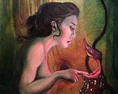 Pandora, pitcher plant maiden, naiad, siren, pandora's box, dark garden, open edition print