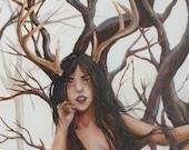 The Daughter of Bones Open Edition fine art print, Elen, Antlered Goddess, the Green Lady
