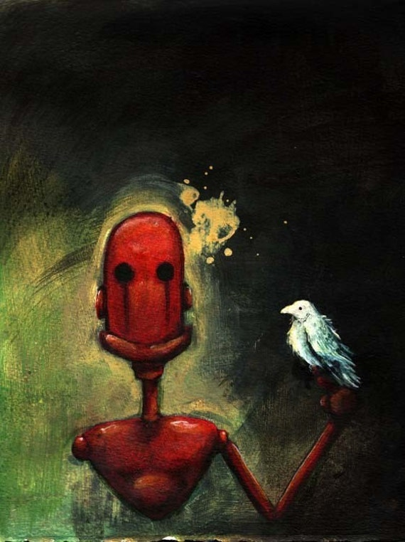 Melancholibot, Open Edition fine art print - melancholy robot, familiar, friend, albino crow