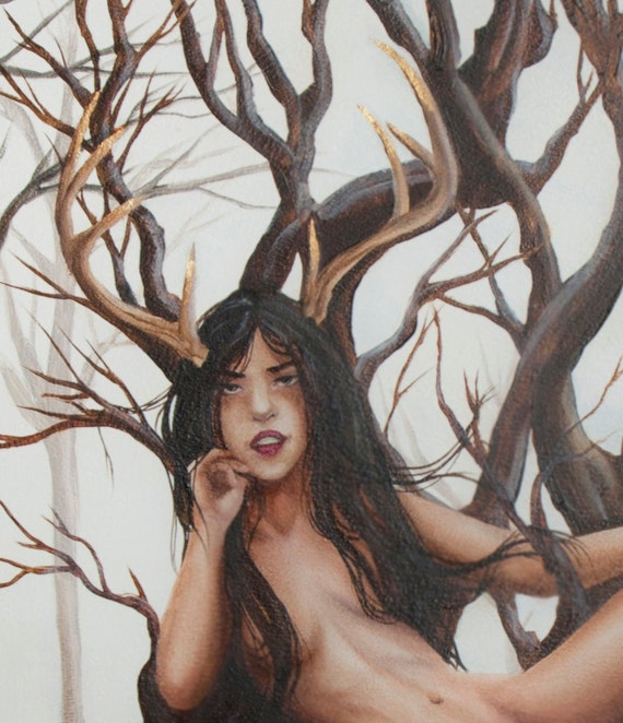 The Daughter of Bones Open Edition fine art print, Elen, Antlered Goddess, the Green Lady
