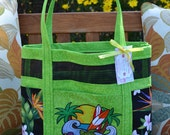 Tote Bag With Attitude - Embroidered Ocean Turtle Tropical Hawaiian Fabric and Vinyl Mesh Tote