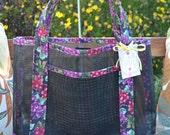 Tote Bag Wine Vineyard Grape Clusters Fabric and Vinyl Mesh Tote Bag