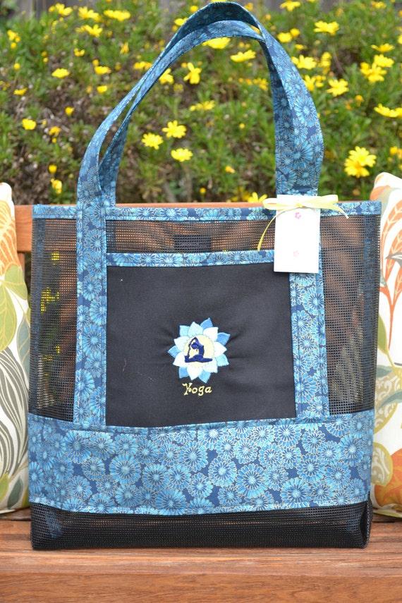 Tote Bag Yoga Lotus Flower Fabric And Vinyl Mesh