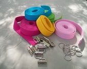 """25 sets 1.25"""" key fob hardware and  10 yds. heavy cotton webbing -  45 GORGEOUS COLORS"""