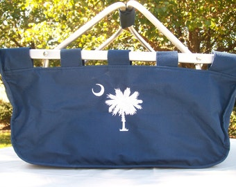 Large South Carolina Palmetto Tree and Crescent Moon Collapsible Market Tote