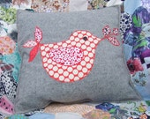 Applique Bird Cushion (grey)