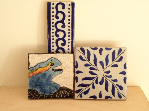 SAVE 30% SALE Architectural Interest Set of Three Vintage Tile Wall Hangings