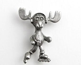 Markie Moose Roller Blade tac pin pewter