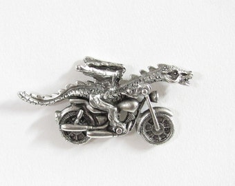 Motorcycle Dragon pewter tac pin