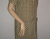 Vintage 60s 70s olive green plaid house casual dress M L 38 40 bust