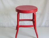 Vintage industrial metal stool red paint