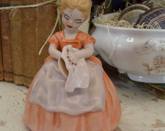 Vintage lady figurine 1950s figurine girl figurine orange dress orange figurine bisque figurine dish drying home decor