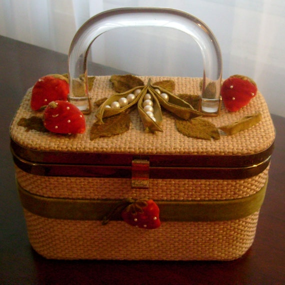 RESERVED for LOUISE Vintage box handbag by JR Florida burlap with velvet strawberries and peas