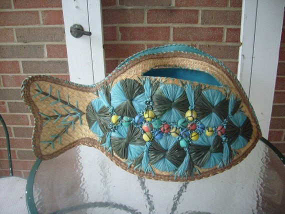 Vintage fish straw and aqua raffia bag with sea shells very large