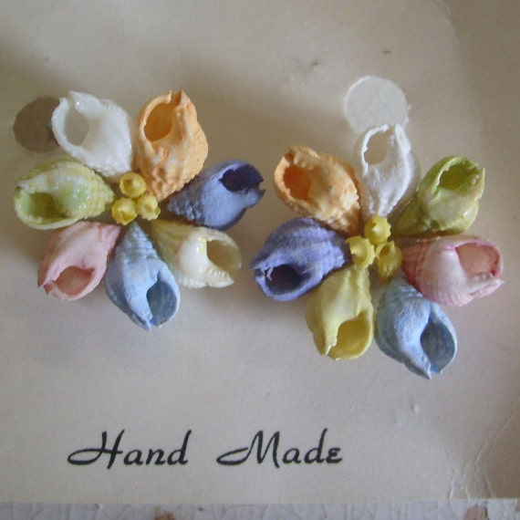 Dainty shell craft  screw post earrings hand made on original Shells from the Seven Seas card