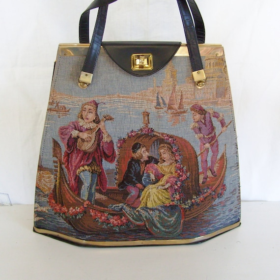 RESERVED Vintage Tyrolean New York tapestry handbag tote trapunto renaissance couple gondola venice scene extra large