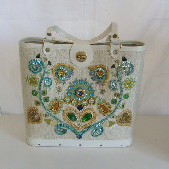 RESERVED Vintage handbag or tote turquoise embellished rhinestone kit or craft canvas and vinyl