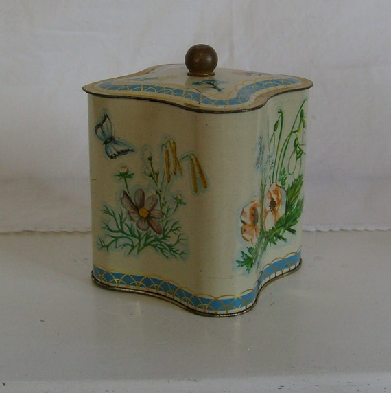 Vintage biscuit tin canister container floral with butterflies blue green and yellow