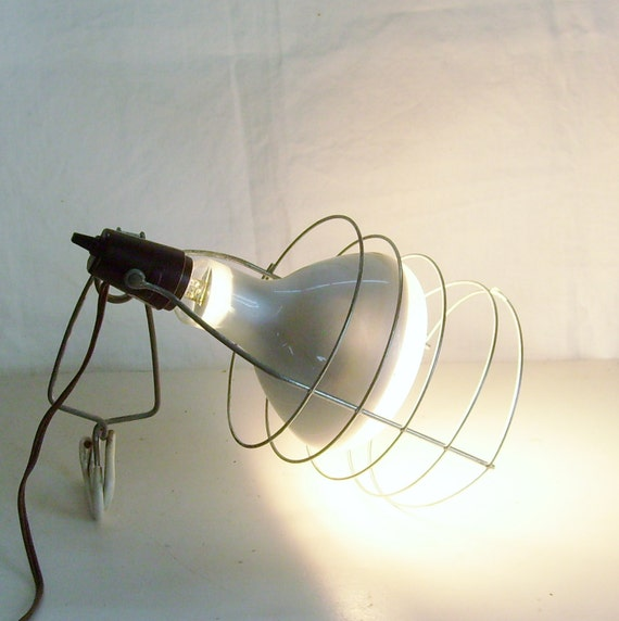 Vintage industrial cage light work or spot light with clamp works