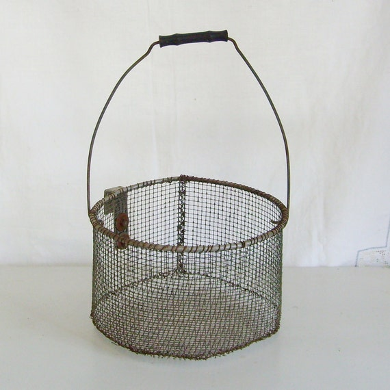 Antique wire farm basket egg carrier with hook