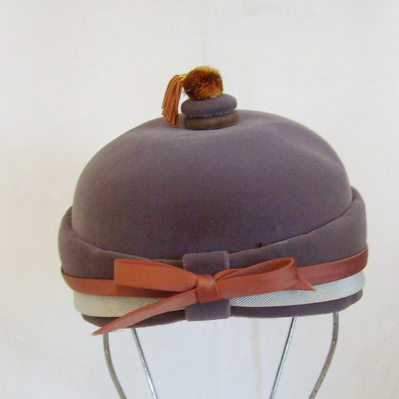 RESERVED Vintage ladies hat velvet organ grinder's monkey or bellhop style by Lynne Brooke tassel and bow