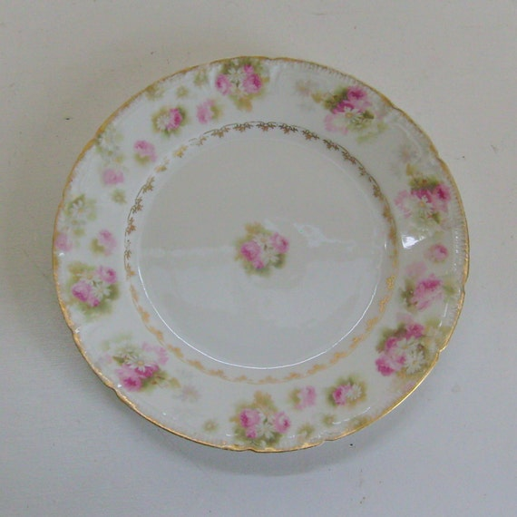 Antique plate Haviland Limoges china daisies and roses