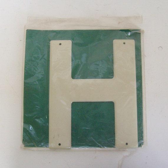 Vintage highway letter H sign 3M Scotchlite Reflective metal