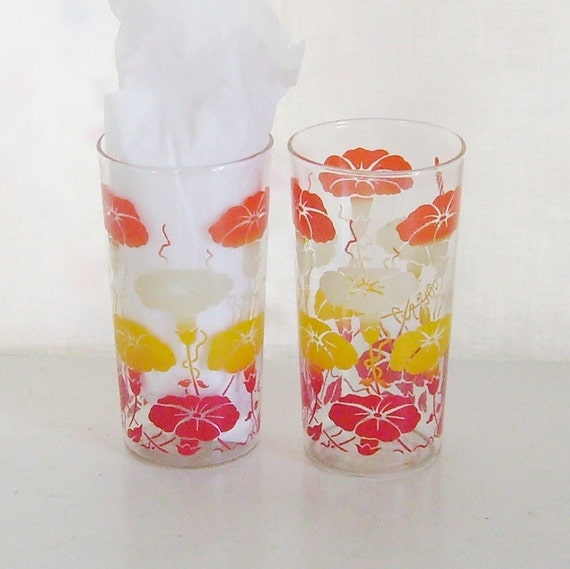 Vintage drinking glasses swanky swig tumblers morning glory flowers red, orange, yellow and white pair