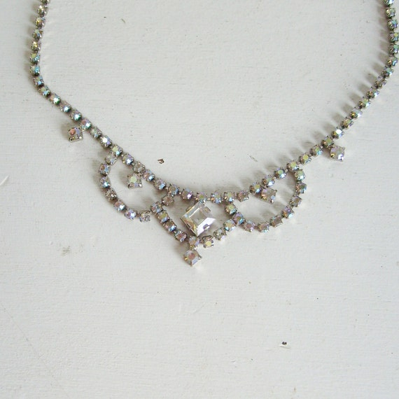 Vintage rhinestone necklace clear aurora borealis perfect for brides or prom made in Austria