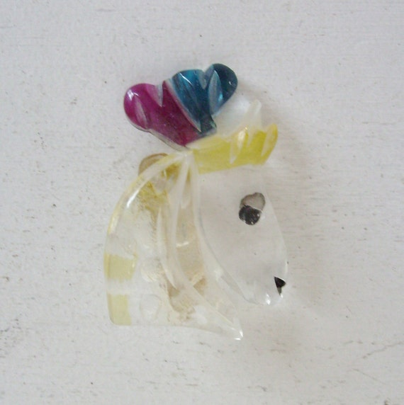 RESERVED Vintage carved lucite circus horse pin or brooch clear with colorful plumes and yellow mane