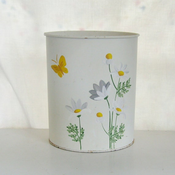 RESERVED Vintage waste basket tole trash can white with hand painted daisies and butterflies signed